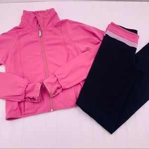 Lululemon 2 Piece Pink Work Out Set Pants Jacket 8